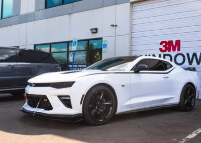 White Camero exterior, window tint by Sunshine Control